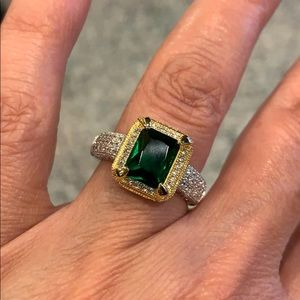 Jewelry - 2ctnGreen Emerald cut Engagement Ring